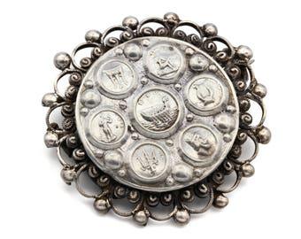Greek Islands Brooch Pin, Antique 1920s Jewelry, Kepkypa Corfu Brooch, Ancient Greece Symbols Heraldry, Round Filigree Pin, Vintage Sterling