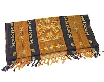 Antique 1930s Table Runner, Tribal Rustic Decor, Sumba Ikat Tapestry, Brown Ikat Textile, Centerpieces Runner, Indonesia Handmade Scarf
