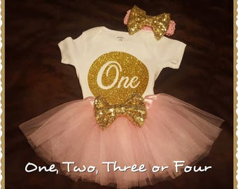 Pink TUTU Birthday Set, Half, 1/2, First, Second, Third or 4th Birthday - TUTU, Onesie or Shirt and Matching Bow