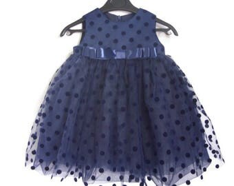 Dark Blue tutu dress, polka dot tulle girl dress, baby tulle dress, wedding dress, first birthday, best present, Girl Outfit