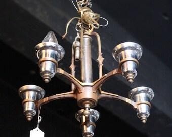Antique Art Deco 5 Arm Bronze Nickel Chandelier Fixture Lighting Lamp Vintage
