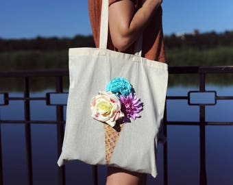 Hand Painted Pop Out Bag * Ice Cream Roses Totebag * One of a King Handpainted Bag