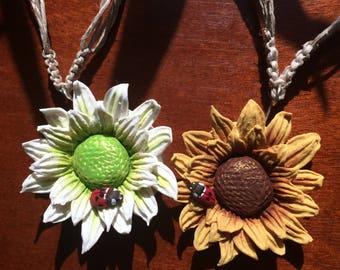 Hippie Flower Necklace with Ladybird Beetle on Macrame Hemp Cord