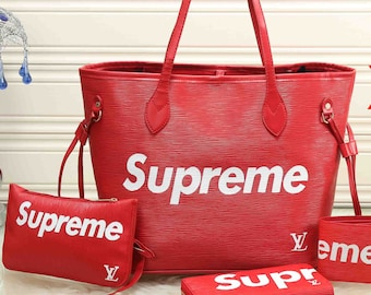 RESERVED 5pc Supreme Neverfull Tote Bag set- Logo Wallet- Dust Bag- Also Authentic lv Louis Vuitton Satin Authentic Satin Shoe Blue and Purp