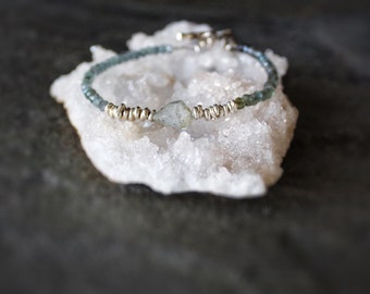 March birthstone MOSS AQUAMARINE with natural aquamarine ombré aquamarine bracelet natural blue green gemstones,aquamarine Bracelet