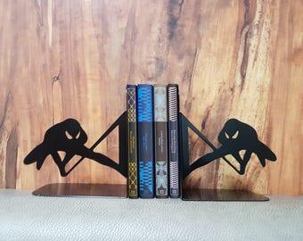 Marvel Spider Man Bookend, Metal Bookshelf, booksupport, Spidy, Swinging Spiderman, Flying Spiderman Bookend