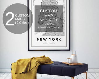 Custom Map Print, London City Map, Any City Map, Melbourne Map Print, Custom City Print, City Map Print, Black and White Map, City Map