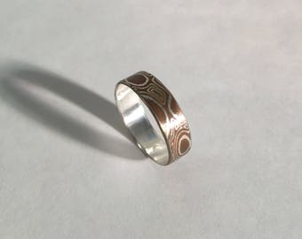Wide band Mokume gane ring size 9.5