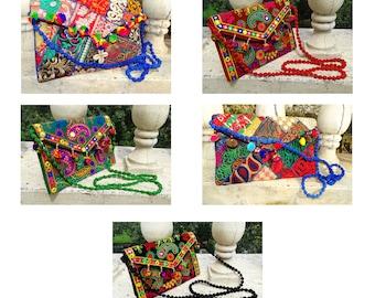 Pom pom Fringes Stylish Clutch Women Cross-body Bag Ethnic Shoulder Bag Small Handbags Embroidered Purse Sling Bag  ESPCVA36-54