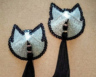 Silver Kitty Pasties with Black Sequins and Tassels