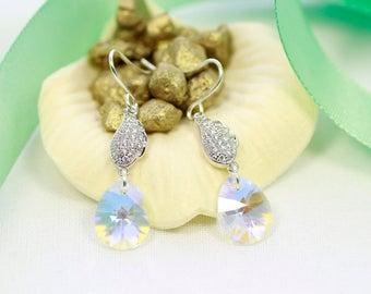 Swarovski crystal earrings   Teardrop crystal earrings   Silver earrings   Leaf earrings