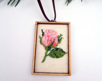 Embroidered pink chic Roses jewelry Pink Rose Necklace Charm Gift |for| Womans Beauty gift for Girlfriend Gift Pink gift for Wife Jewelry