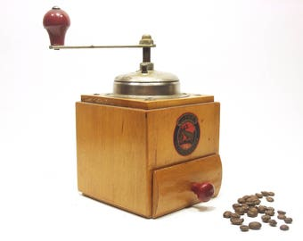 50s Coffee Grinder Vintage German Mill Stahlmahlwerk MOCCA Original Made in West Germany Vintage Hand wooden wood manual working