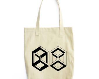 Nth Dimension geometric art tote bag