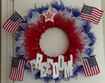 Fourth of July, American Flag Wreath, Fourth of July Flag Wreath, Fourth of July Wreath, Independence Day, Red ,White, and Blue  Wreath