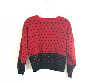 Cropped 80s Vintage Polka Dot Sweater