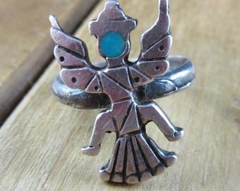 Vintage Turquoise Hopi Kachina Figurine Ring Size 6 Southwest Native American Sterling Silver