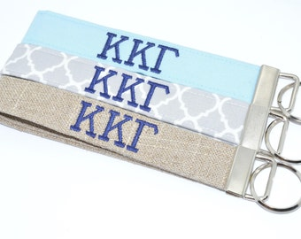 Officially Licensed Kappa Kappa Gamma Sorority Keychain Key Chain Fob Wristlet Greek Life Personalized Embroidered