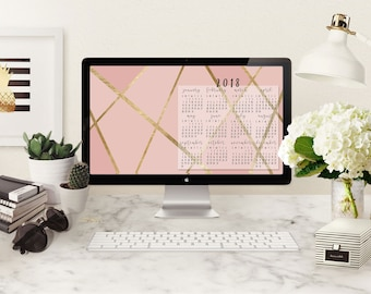 Calendar Desktop Wallpaper | 2018 Calendar Wallpaper | Pink & Gold Wallpaper Desktop Calendar 2018 | Instant Digital Download Calendar