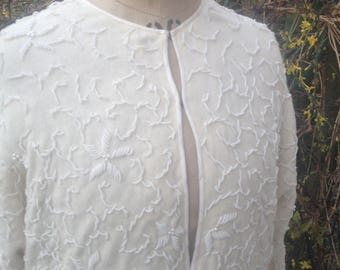 Beaded ivory lambswool and angora cardigan jacket size 40