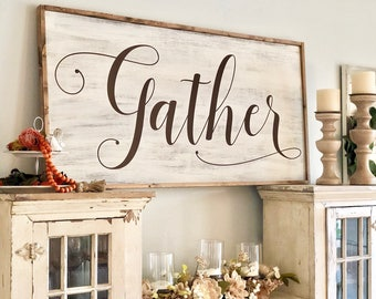 Large Gather Sign | Framed Gather Sign | Wood Sign | Farmhouse Gather | Extra Large Gather | Large Dining Room Sign | Framed Dining Sign