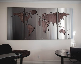 World map wall art metal etsy world map large 4x8 wood background metal signs stainless steel gumiabroncs Images