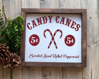 Candy Canes Christmas Sign, Christmas Sign, Holiday sign, Candy Sign, Farmhouse Sign, Red and White