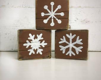 Blocks - Snowflakes - Barn Wood - Vintage