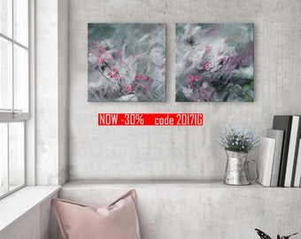 """Set of two paintings 12x12"""" Small roses  Green and pink  Abstract landscape"""