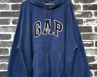 Vintage 90s Gap Athletics Sweater Hoodie Blue Sweatshirt Big Logo Winter Wear Street Fashion Town Swagger Size XL Authentic Made Mariana US qhKyFSR