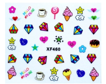Nail stickers nail sticker finger nail art foil kawaii ice diamond lollipop Star Heart SWEET * new *.