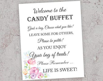Candy Buffet Sign, Printable Wedding Decor, Candy Bar Sign, Pink Wedding Decor, Candy Table Sign, 8x10 sign, Grab Treat Sign, J010