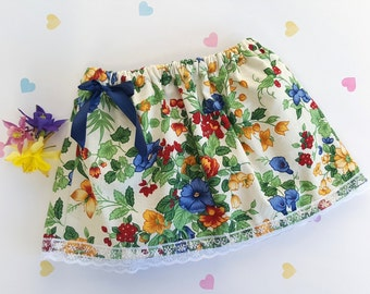 9-12m Baby Vintage Summer Flower Print Skirt, Baby Fashion, Baby Clothing, Holiday Skirt, Girl Skirt, Floral Skirt, Cotton, Elasticated, Bow