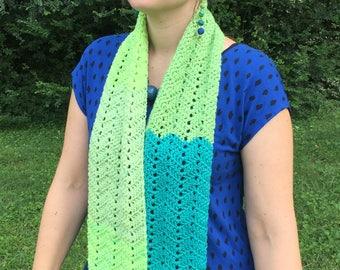 Crochet Chevron Scarf, Multicolored Crochet Scarf, Green Crochet Chevron Scarf, Blue Crochet Chevron Scarf, Striped Scarf, Winter Scarf
