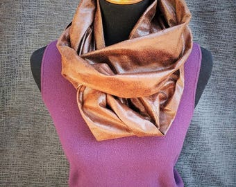 Fall Scarf, Brown Infinity Scarf, Leather Scarf, Distressed Scarf, Fashion Scarf, Infinity Scarf, Dressy Scarf, Unique Scarf, Suede Scarf