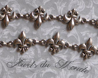 1 Foot French Style Speciality Fleur de Lis Heavy Chain Antique Silver Tone