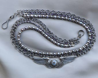Military Midnight - Vintage Airborne Wings Recast in Sterling Silver with Natural Pearls Rhinestones and Chain Mail