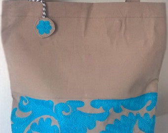 Beige and Turquoise embroidered handbag Shoulder bag Shopping bag Embroidered bag Turquoise embroidered Tote bag