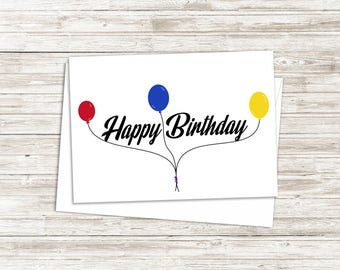 Birthday Card - Card for Friend - Happy Birthday Card - Simple Birthday Card - Kids Birthday Card - Greeting Card