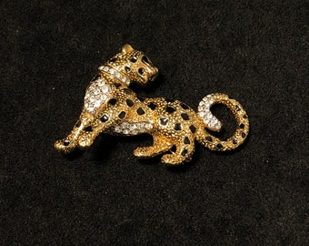 Vintage Rare Signed A & S Rhinestone Leopard Brooch