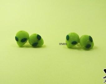 Alien Earrings  Martian  Glow in darkness  Universe  Polymer earrings  Polymer alien  Polymer jewelry