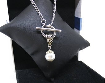 White bead, toggle clasp, pendant, chain stainless steel, wife, daughter, gift