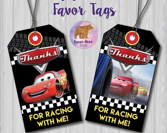 Cars 3 Party Favour Cars Movie Party Favor, Cars Party Decoration, Lightning McQueen Favor Tags, Lightning McQueen Party Tags Cars Favor Tag
