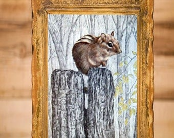 Chipmunk on Fence Post in Woods, Mercer County Pennsylvania, Original Colored Pencil Drawing Wall Art