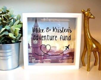 Personalized Adventure Fund Big Ben London Roman Forum | Engagement Gift | Bridal Shower Wedding Gift | Travel Memory Box | Couples Travel