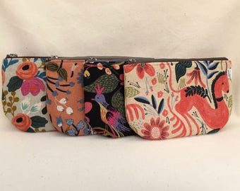 Small Floral Linen Makeup Bags – Set of Four or Individual Sale - Rifle Paper Company Les Fleurs – Mini Makeup Bags –Bridesmaid Gifts