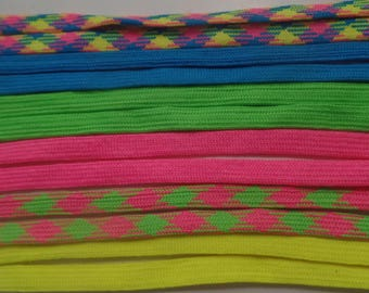 Shoelaces. 39 Inches long. Assorted Brite Colors and Plaids. Set of Six Pair.