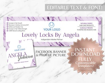 Purple Marble and White Hair Salon and Monat Facebook Banner and Profile Picture INSTANT Template