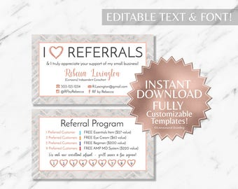 Rose Gold Marble RF Referral and Business Cards INSTANT Template
