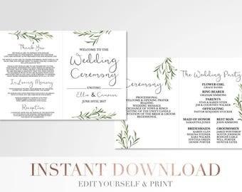 Printable Folded Simple Greenery Wedding Program // Custom Program // Wedding Program // Laurels and Leaves // Wedding Stationery // Branch